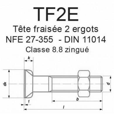 BOULON T. FRAISÉE 2 ERGOTS NFE 27-355 DIN 11014 ZINGUÉ 8.8