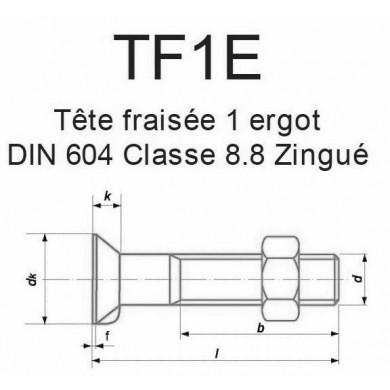 BOULON T. FRAISÉE 1 ERGOT DIN 604 ACIER ZINGUÉ CL. 8.8