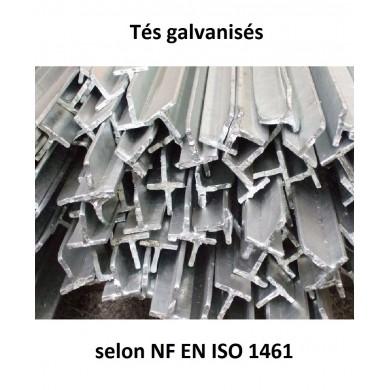 TÉ ACIER GALVANISÉ LAMINÉ A CHAUD BARRE FER S235JR - longueur 1 mètre