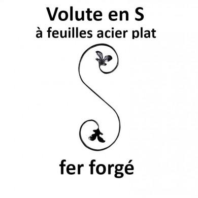 VOLUTE EN S FER FORGE À FEUILLES ACIER PLAT
