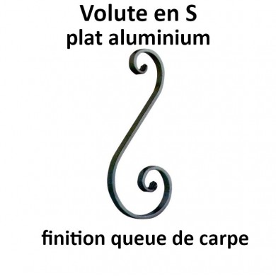 VOLUTE EN S PLAT ALUMINIUM FINITION QUEUE DE CARPE