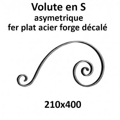VOLUTE S ASYMETRIQUE FER PLAT ACIER FORGÉ DECALÉ 210x400