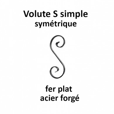 VOLUTE S SIMPLE SYMETRIQUE FER PLAT ACIER FORGÉ