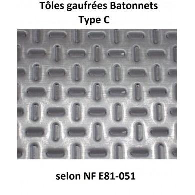 TÔLE ACIER GAUFRÉE  BÂTONNETS TYPE C 3 MM - 800 MM