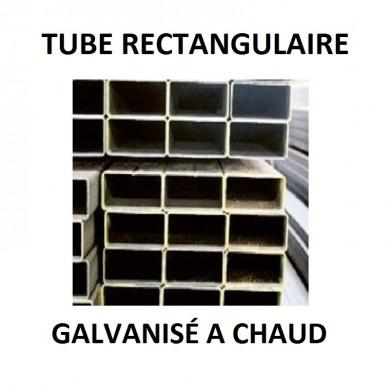 TUBE RECTANGULAIRE ACIER GALVANISÉ A CHAUD BARRE - longueur 1 mètre