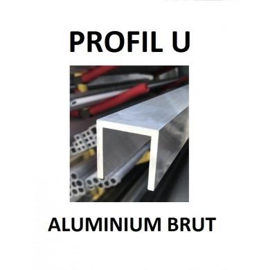 PROFIL U ALUMINIUM BRUT - longueur 1,5 mètres