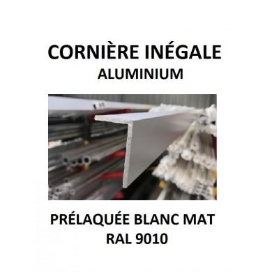 CORNIÈRE INÉGALE ALU 1,5 mètres PRÉLAQUÉE BLANC 9010