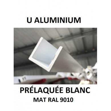 U ALUMINIUM PRÉLAQUÉE BLANC MAT RAL 9010 - longueur 1,5 mètres