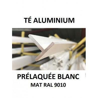 TÉ ALUMINIUM PRÉLAQUÉE BLANC MAT RAL 9010 - longueur 1 mètre