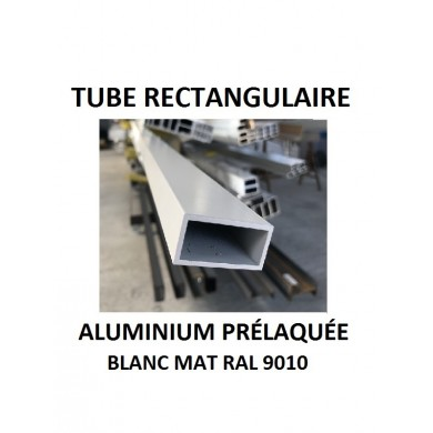 TUBE RECTANGULAIRE ALUMINIUM PRÉLAQUÉE BLANC MAT RAL 9010