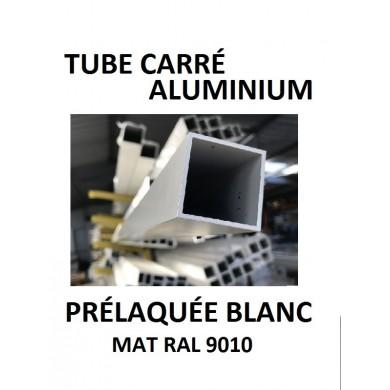 TUBE CARRÉ ALUMINIUM PRÉLAQUÉE BLANC MAT RAL 9010 - longueur 1,5 mètres