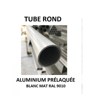 TUBE ROND ALUMINIUM PRÉLAQUÉE BLANC MAT RAL 9010 - longueur 1,5 mètres