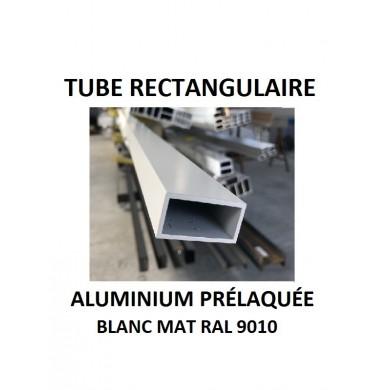 TUBE RECTANGULAIRE ALUMINIUM PRÉLAQUÉE BLANC MAT RAL 9010 - longueur 1,5 mètres