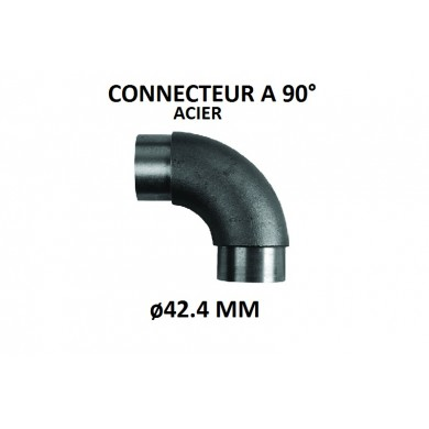 CONNECTEUR A 90° TUBE ROND ACIER, ø42.4