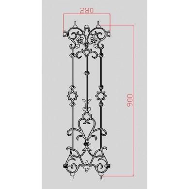 decor-moule-frise-dimensions-900x280-double-face-en-fonte-grise-avec-cotes-C0263